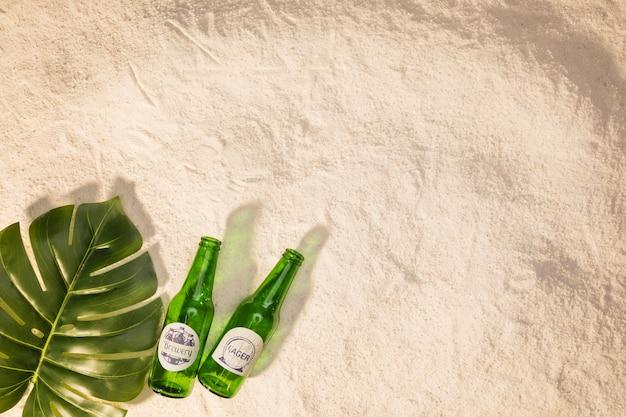 Foglia verde con bottiglie sulla sabbia