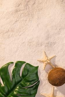 Foglia verde con stella marina sulla spiaggia