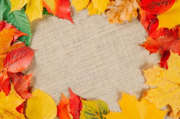 Fogliame variopinto delle foglie di autunno su struttura della tela di sacco o della tela da imballaggio.