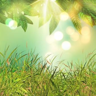 Foglie 3d e sfondo di erba