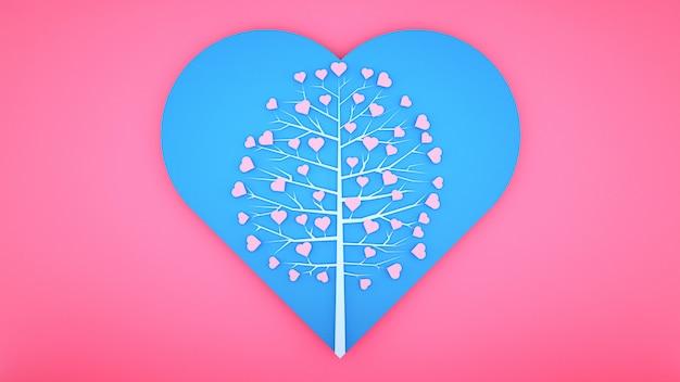 Foglie a forma di cuore sull'albero