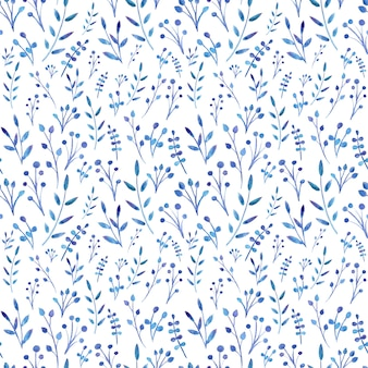 Foglie blu dipinte ad acquerello.