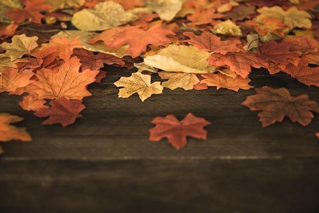 Foglie di autunno sdraiato sul tavolo