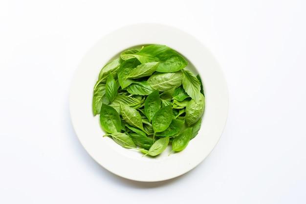 Foglie di basilico fresco verde in piatto bianco