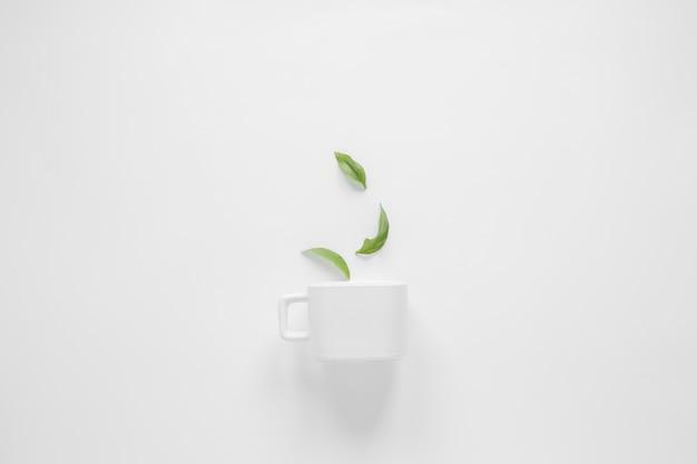 Foglie di caffè e tazza bianca su sfondo bianco