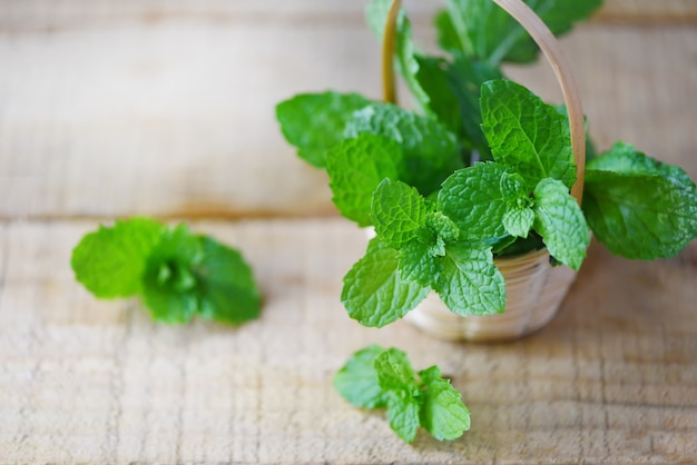 Foglie di menta piperita in un cestino di legno foglie di menta fresca per erbe e alimenti vegetali naturali