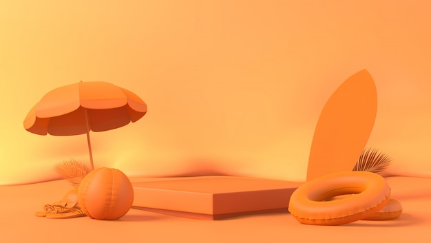 Foglie di palma arancio del podio della scatola a tema con il puntello di estate nel fondo