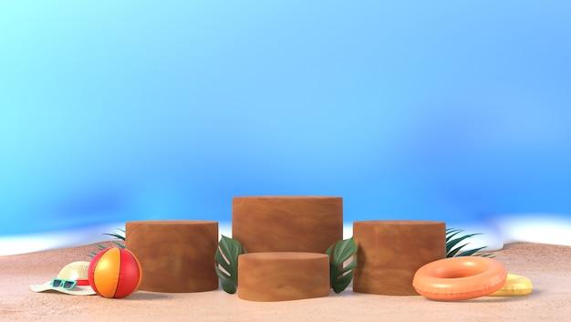 Foglie di palma marrone del podio del cilindro con il puntello di estate nel fondo