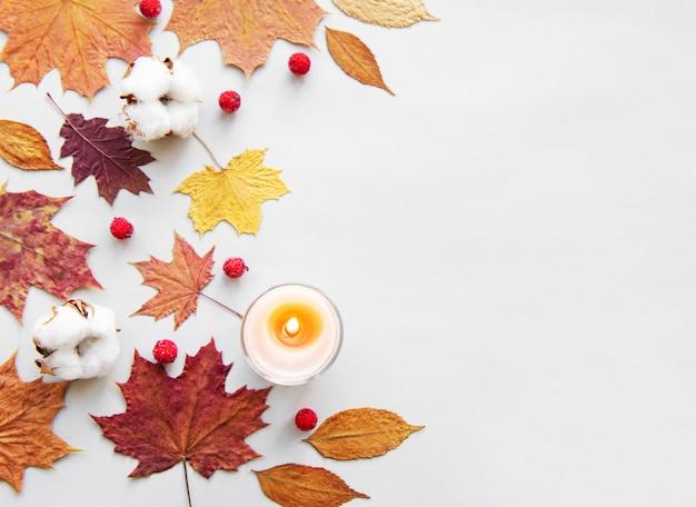Foglie e candela di autunno su fondo bianco