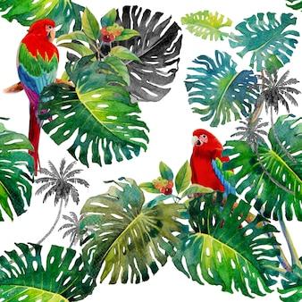 Foglie tropicali di monstera e uccelli ara in stile acquerello