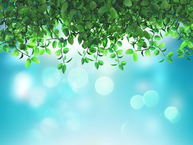 Foglie verdi 3d su uno sfondo blu defocussato