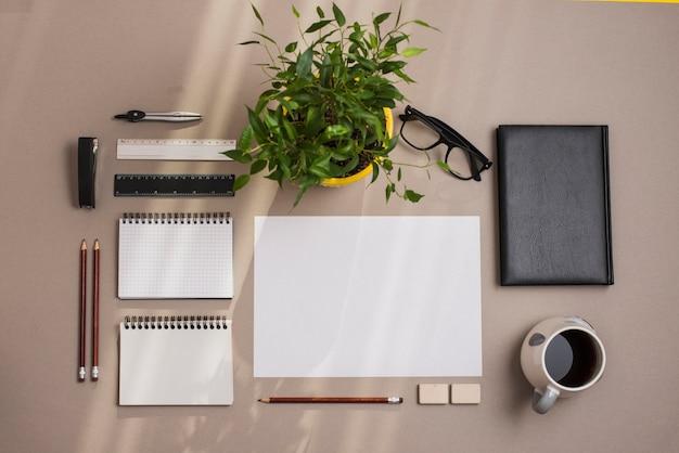 Foglio bianco; bloc notes; matite; tazza di tè; diario e pianta in vaso su sfondo colorato