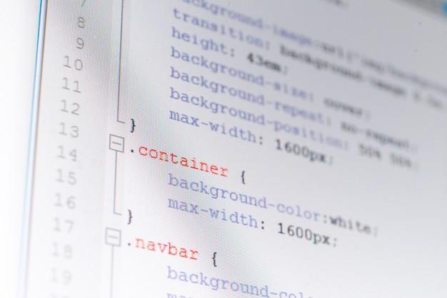 Foglio di stile css su uno schermo, concetto di programmazione