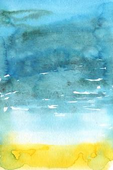 Fondo astratto dell'acquerello di mare luminoso.