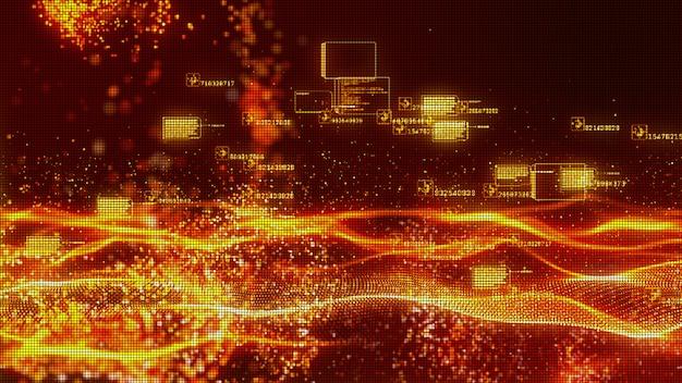 Fondo astratto di flusso dell'onda delle particelle di colore rosso