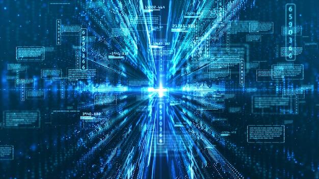 Fondo astratto di informazioni olografiche dell'esposizione digitale di ciao-tecnologia