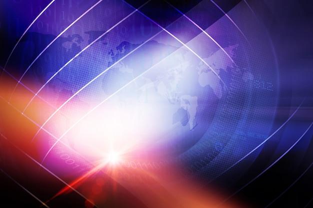 Fondo astratto di notizie del mondo di digital con effetto della lente