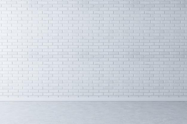 Fondo bianco del mattone della parete con il pavimento di calcestruzzo