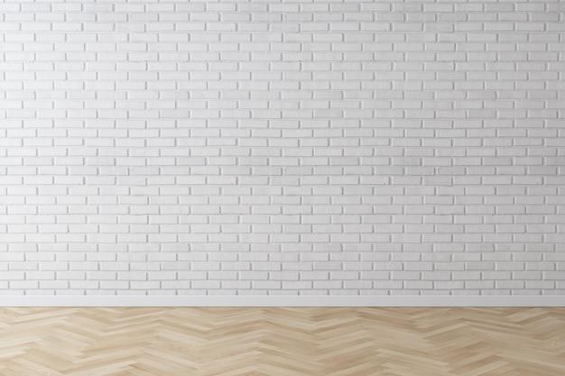 Fondo bianco del mattone della parete con il pavimento di legno della spina di pesce
