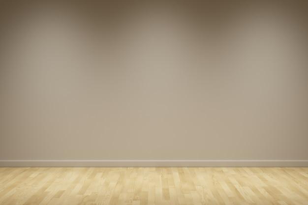 Fondo bianco della parete con la scena di notte del pavimento di legno