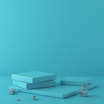 Fondo blu astratto con il cubo di forma geometrica del metallo e del podio. rendering 3d