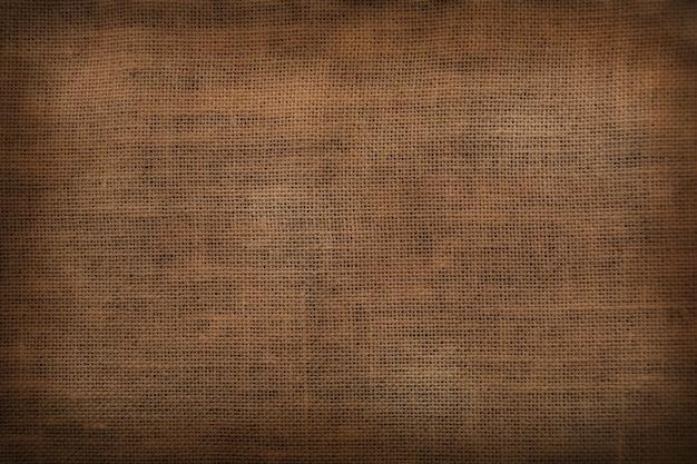 Fondo d'annata rustico del vecchio tessuto di sacco della pianura di vista superiore