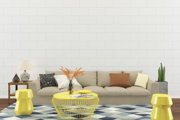 Fondo del modello del pavimento della casa parete interna del salone del salone