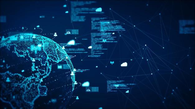 Fondo dell'estratto di concetto di dati e di comunicazione della rete di tecnologia digitale. elemento terrestre fornito dalla nasa