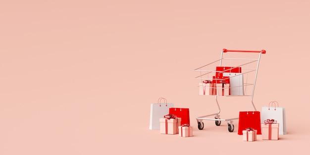 Fondo dell'insegna della pubblicità per web design, il sacchetto della spesa e regalo con il carrello su fondo rosa, rappresentazione 3d