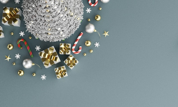 Fondo di buon natale nel topview con lo spazio della copia, rappresentazione 3d.