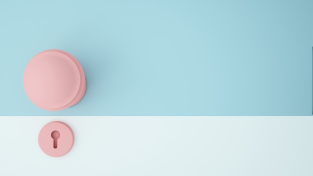 Fondo di colore pastello della maniglia di porta dell'illustrazione di concetto di arte di carta - rappresentazione 3d