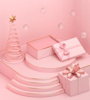 Fondo di colore pastello di natale di festa con un contenitore di regalo del podio e del contenitore di regalo, rappresentazione 3d.