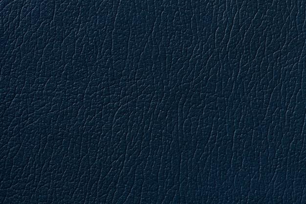 Fondo di cuoio blu scuro di struttura con il modello, primo piano.