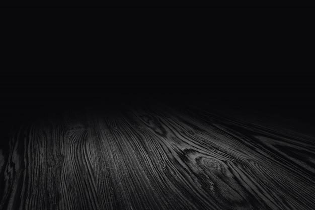 Fondo di legno nero di prospettiva di struttura del pavimento per esposizione o montaggio del prodotto