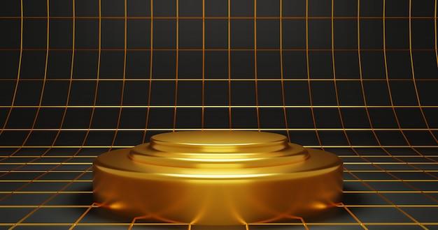 Fondo di lusso del podio dell'oro, rappresentazione 3d.