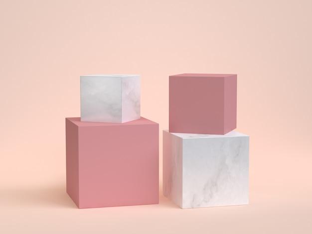 Fondo di marmo rosa della crema della rappresentazione del podio 3d del cubo-scatola