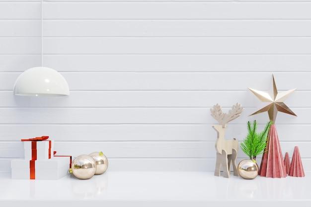 Fondo di natale con il regalo per i rami sulla rappresentazione bianca di legno di background3d
