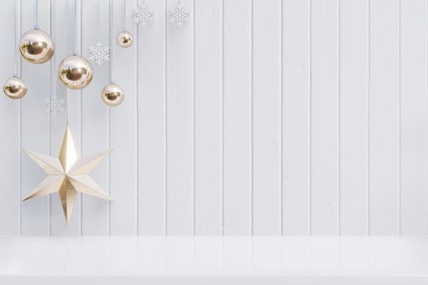 Fondo di natale con la stella per i rami su fondo bianco di legno, rappresentazione 3d