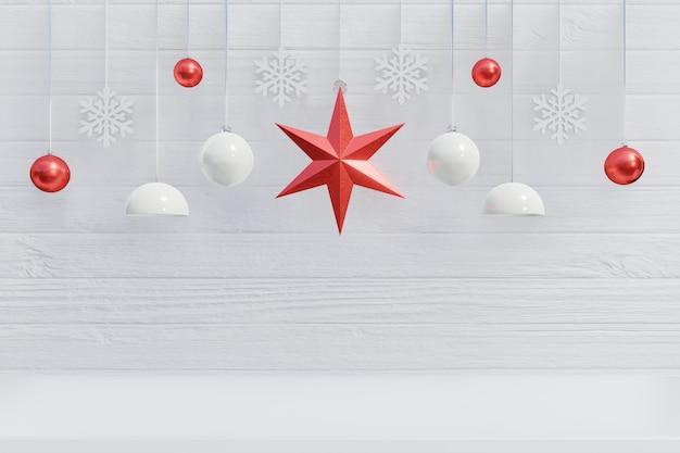 Fondo di natale con la stella rossa per i rami su fondo bianco di legno, rappresentazione 3d