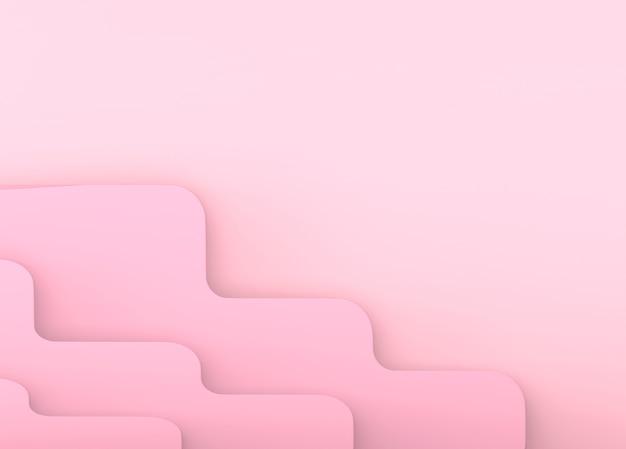 Fondo di parete di arte di carta curva rosa dolce astratto