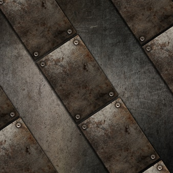 Fondo di struttura di lerciume 3d con progettazione di piastra metallica