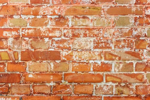 Fondo di vecchio muro di mattoni sporco d'annata con l'intonaco della sbucciatura, struttura