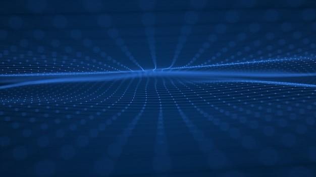 Fondo digitale dell'onda di tecnologia astratta onde futuristiche di poligonali.