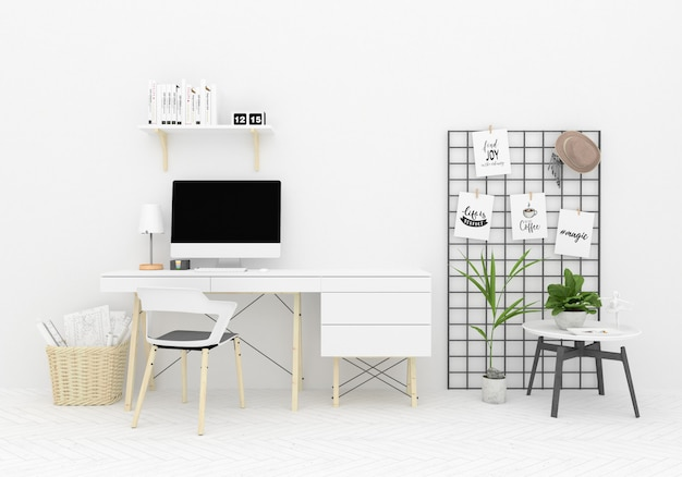 Fondo domestico scandinavo del materiale illustrativo dell'area di lavoro