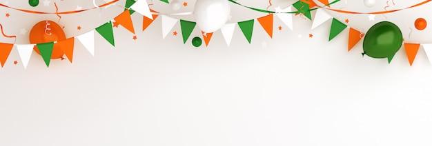 Fondo felice della decorazione dell'insegna di giorno dell'indipendenza dell'india o dell'irlanda con la bandierina della stamina della ghirlanda del palloncino