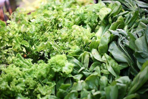 Fondo frondoso dell'alimento delle verdure verdi, concetto sano di cibo.