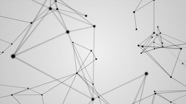 Fondo futuristico astratto di bianco della linea nera della struttura della molecola