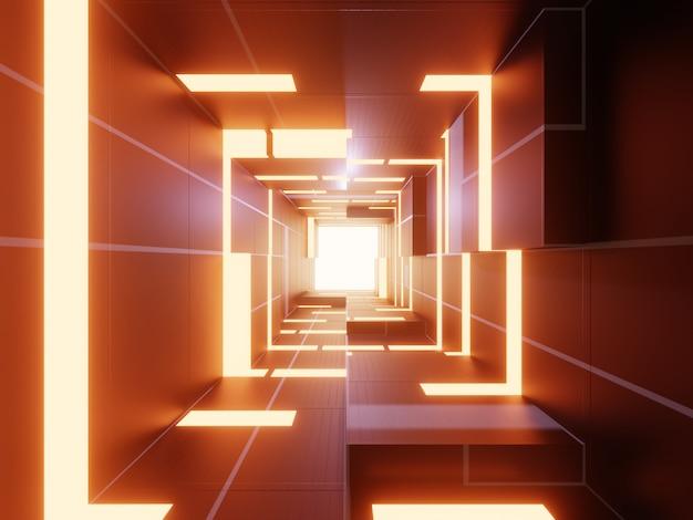 Fondo futuristico astratto di tecnologia 3d con luce arancio.