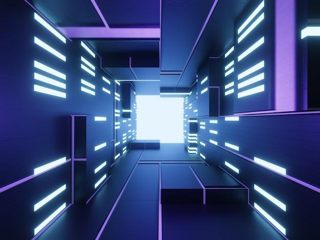 Fondo futuristico astratto di tecnologia 3d con luce blu.