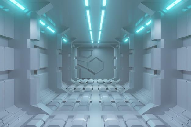 Fondo futuristico del corridoio di fantascienza 3d con luce blu.